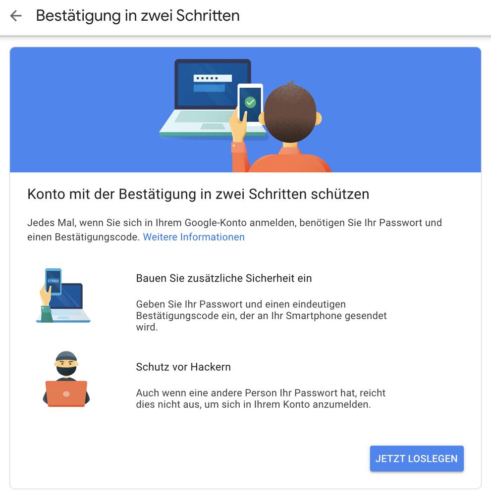 Screenshot der Zweifaktor Authentifizierung im Google Konto