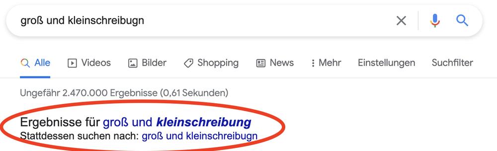 Ein Screenshot einer Google Suche