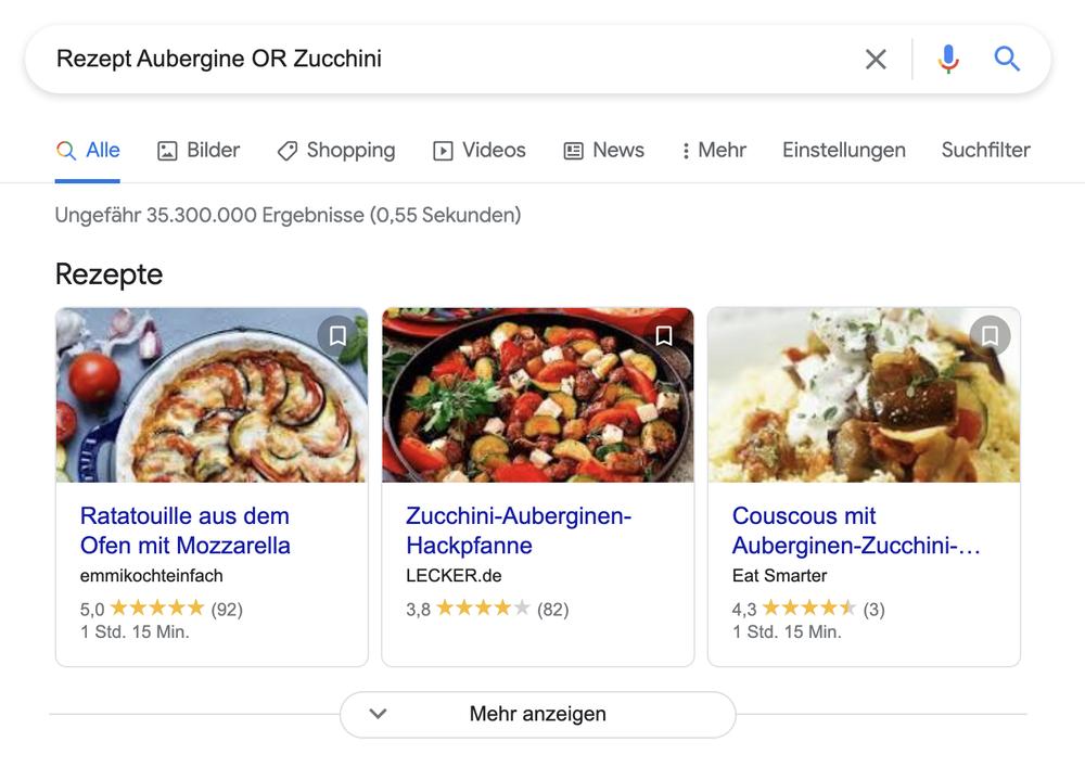 """Ein Screenshot zeigt die Suche nach einem Rezept mit Aubergine oder Zucchini unter Benutzung des """"OR"""" in der Suche"""