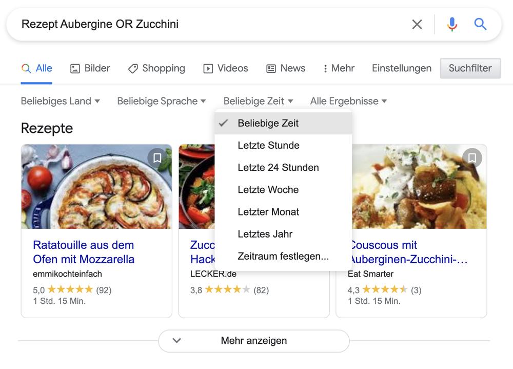 Ein Screenshot zeigt eine Suche unter Nutzung des Filters nach einer bestimmten Zeit