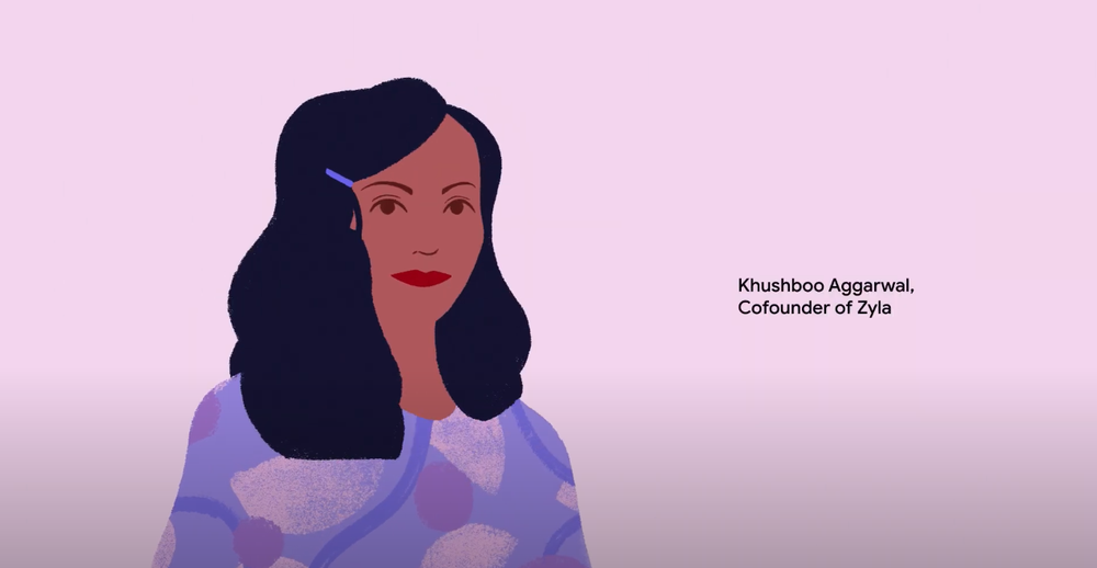 Alt text: An illustration of Khushboo Aggarwal from the inaugural class of the Google for Startups Women Founders Academy in APAC