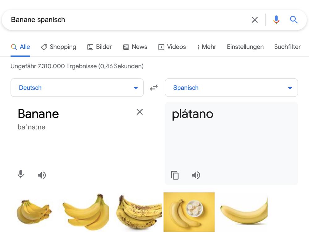Ein Screenshot einer Google Suche nach der Übersetzung von Banane ins Spanische