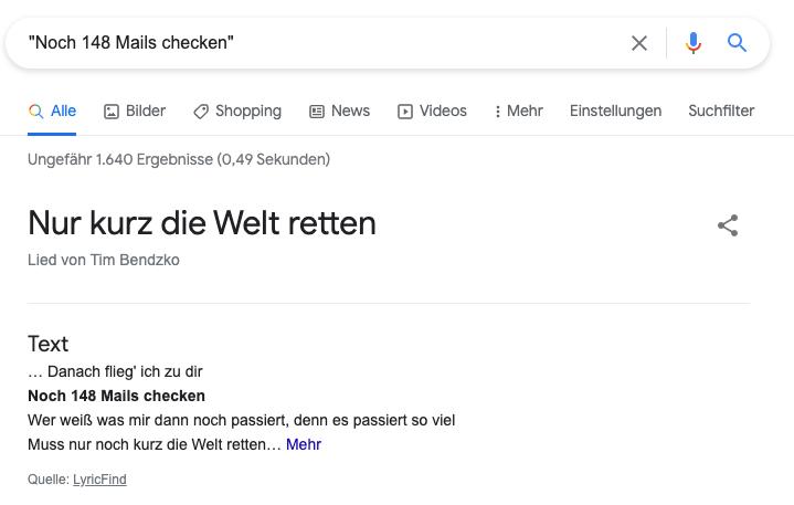 """Ein Screenshot zeigt die Suche nach """"Noch 148 Mails checken"""" woraufhin der Name eines Songs und der Künstler angezeigt werden"""