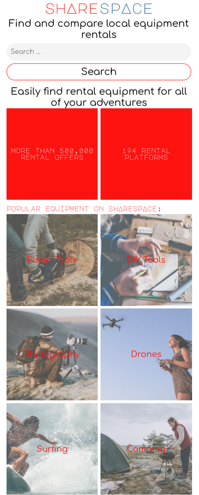 Screenshot der Such- und Vergleichsplattform ShareSpace