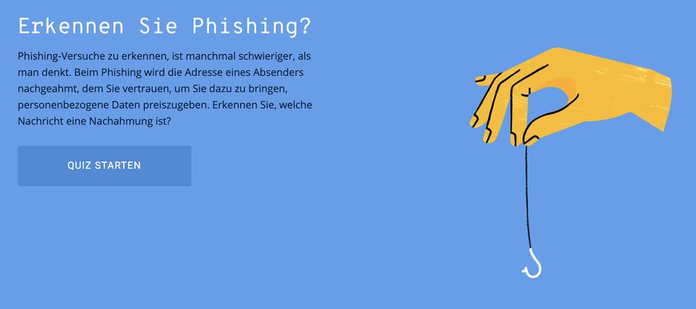 Ein Screenshot des Phishing-Quiz