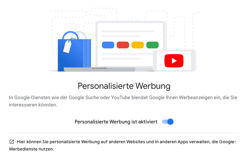 Ein Screenshot der Einstellungsseite für personalisierte Werbung