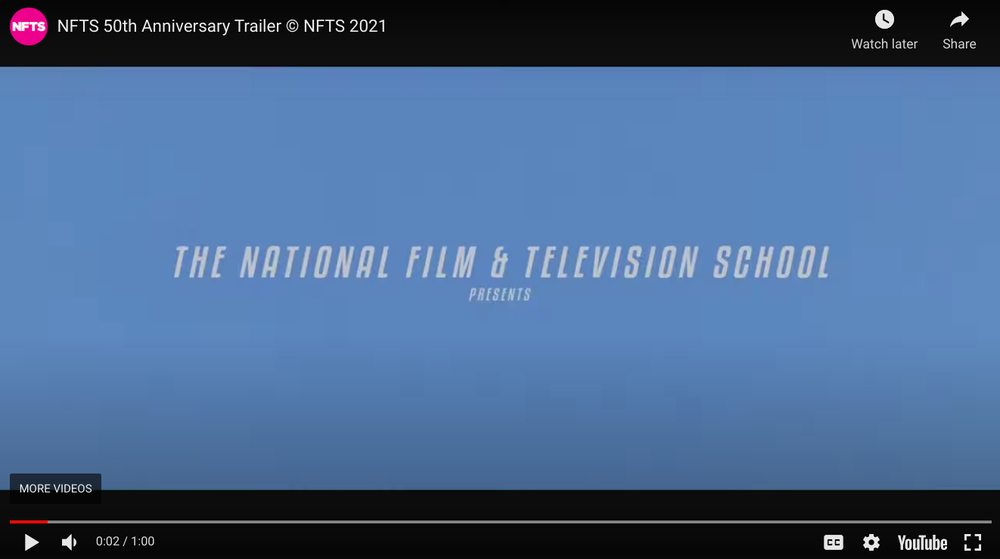 A blue screen reads 'The National Film & Television School presents...'