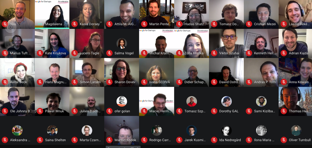 A group of people participating in Google for Startups Accelerator online graduation
