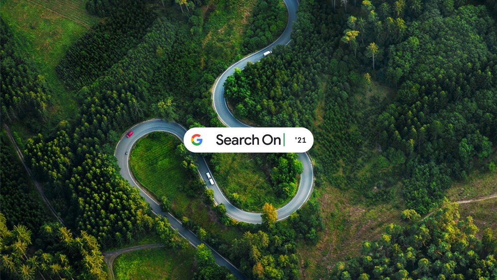 An image of a road and trees with Google's Search On logo