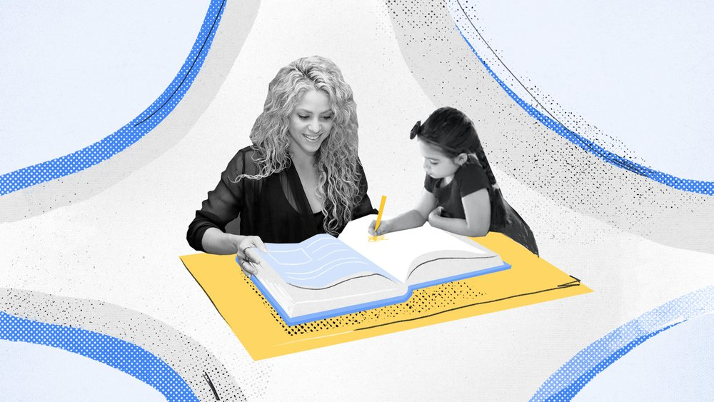 Shakira talks to a young girl while reading a book.