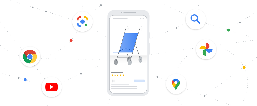 An illustration showing a shopping page for a stroller on a cell phone, surrounded by icons of products like Google Chrome, YOuTube, Google Maps and Google Photos.