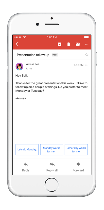 Smart Reply in Gmail on iOS