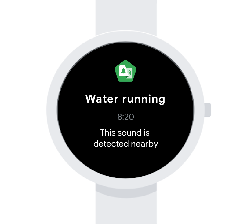 "Image shows a smart watch with a push notification for water running followed with ""This sound is detected nearby."""