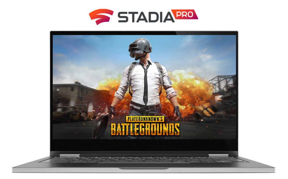 Image shows a Chromebook with the Stadia logo above it and the game Player Unknown's Battleground on the screen.
