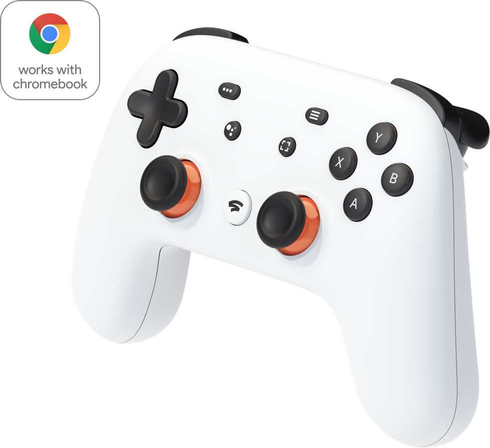 Image shows a white Stadia controller.