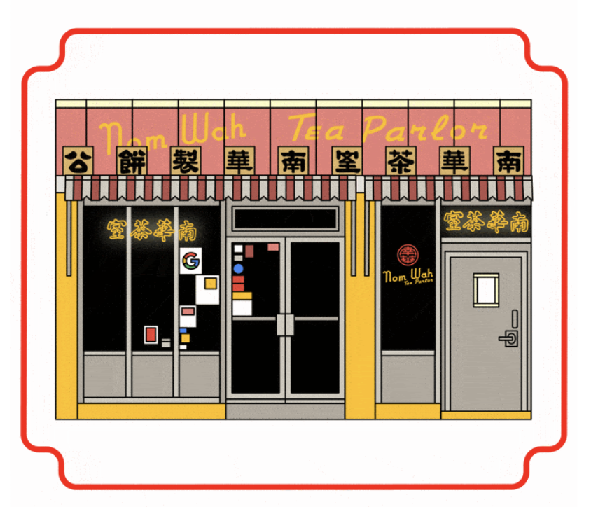 An illustrated version of Nom Wah Tea Parlor featuring Google's logo in the window.