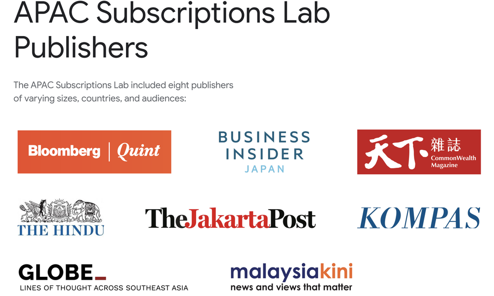 A graphic with the logos of news organizations that took part in the Google News Initiative's APAC Subscriptions lab.