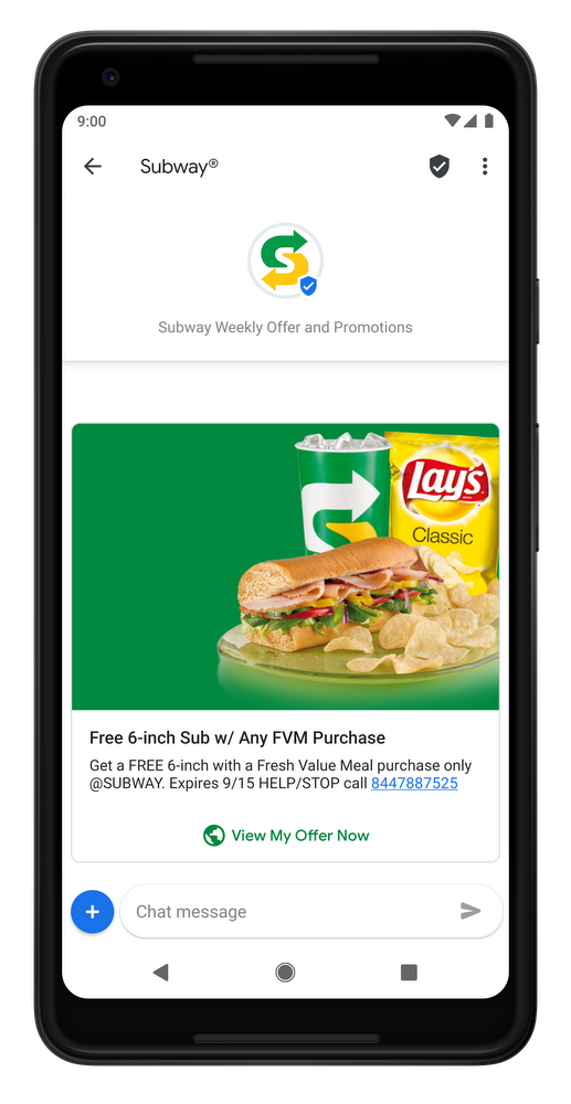 Mobile phone showing Subway promotion with detailed images