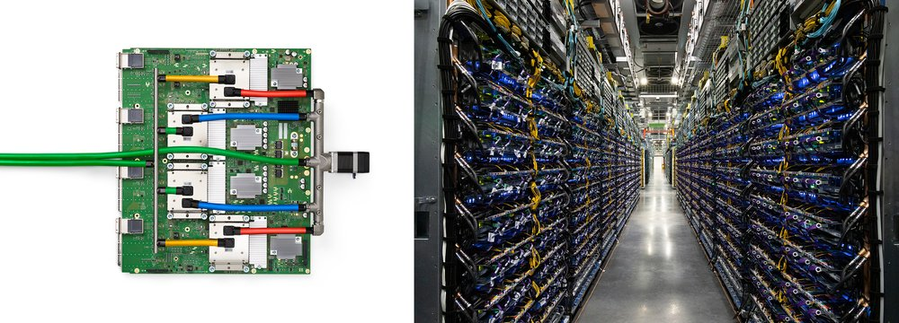 Images of a TPU v4 chip tray, and of TPU v4 pods at our Oklahoma data center