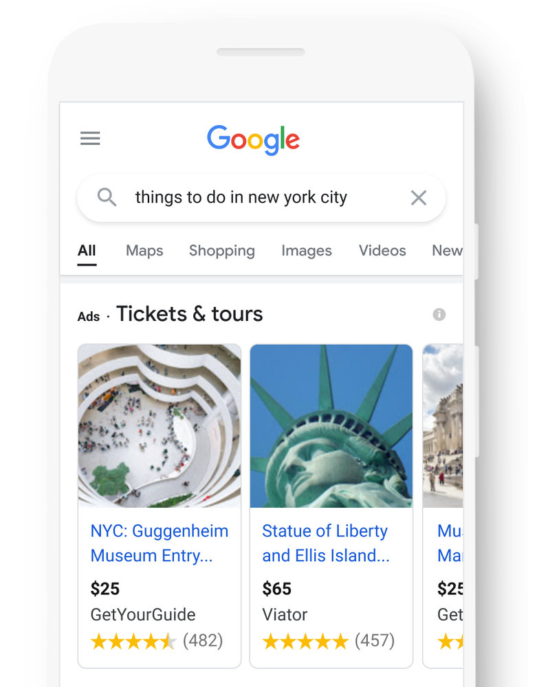This shows ads as the first search result and helps our paid partners get to the top of the page.