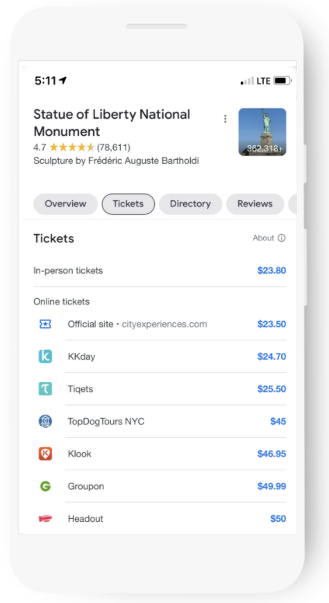 Ticketing options will show what rates each partner prices their tickets at.