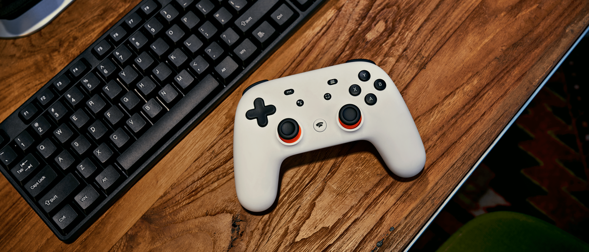 Stadia controller and computer keyboard