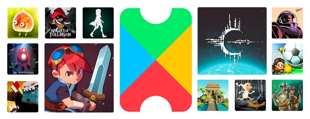 An image of the Google Play Pass logo surrounded by images from video games included in the pass.