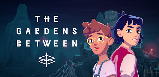 A promotional image from the game The Gardens Between, featuring two characters standing back to back.