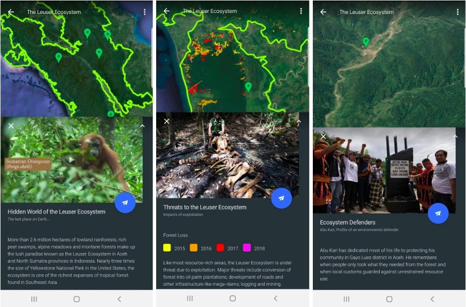 Minacce all'ecosistema Leuser in Google Earth