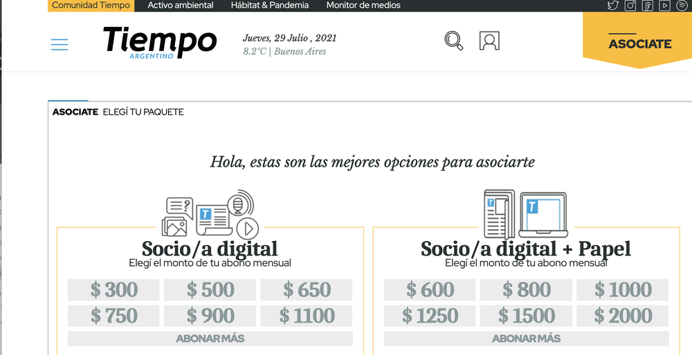 A screenshot of Tiempo Argentino's open-source membership platform, which gives readers the option to become members through different contributions amounts.