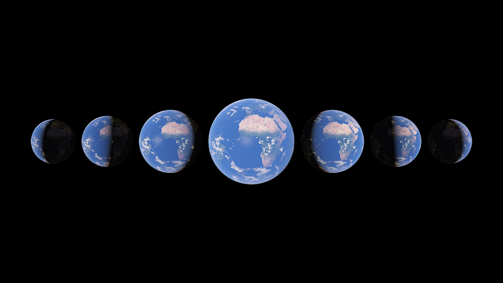 Seven globes in various crescents set against a black backdrop.