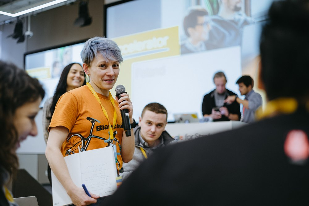 Tina Bychkova (Head of Digital Marketing at Synctuition) at Google for Startups Accelerator event