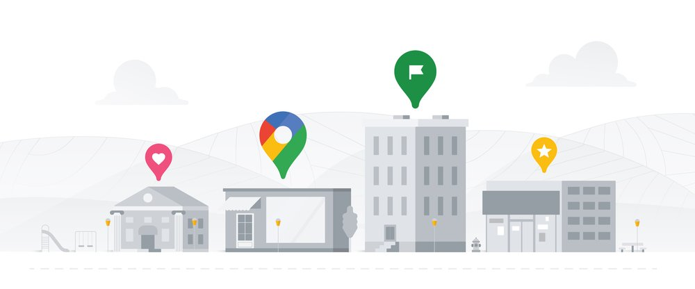 An illustration featuring several buildings with Google product icons above them.