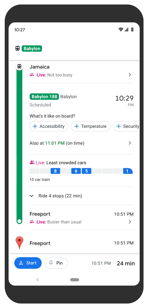 A screenshot of a Pixel phone that shows transit directions and crowdedness predictions on Google Maps