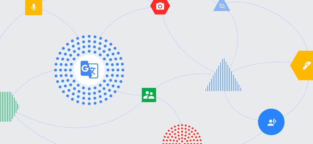 An illustration showing the Google Translate logo, a camera logo, a microphone logo and other logos symbolizing communication.
