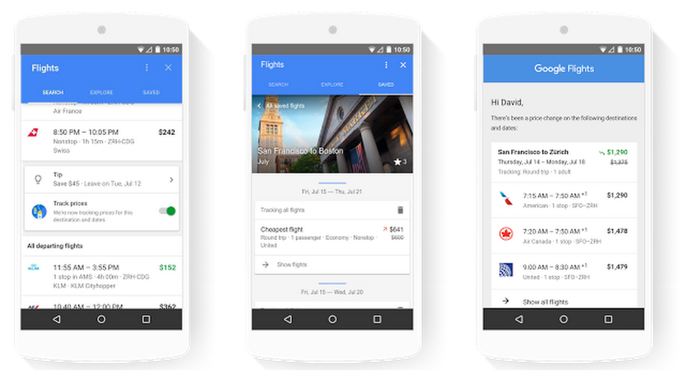 Google Flights tracked flights on mobile and email notification of price change
