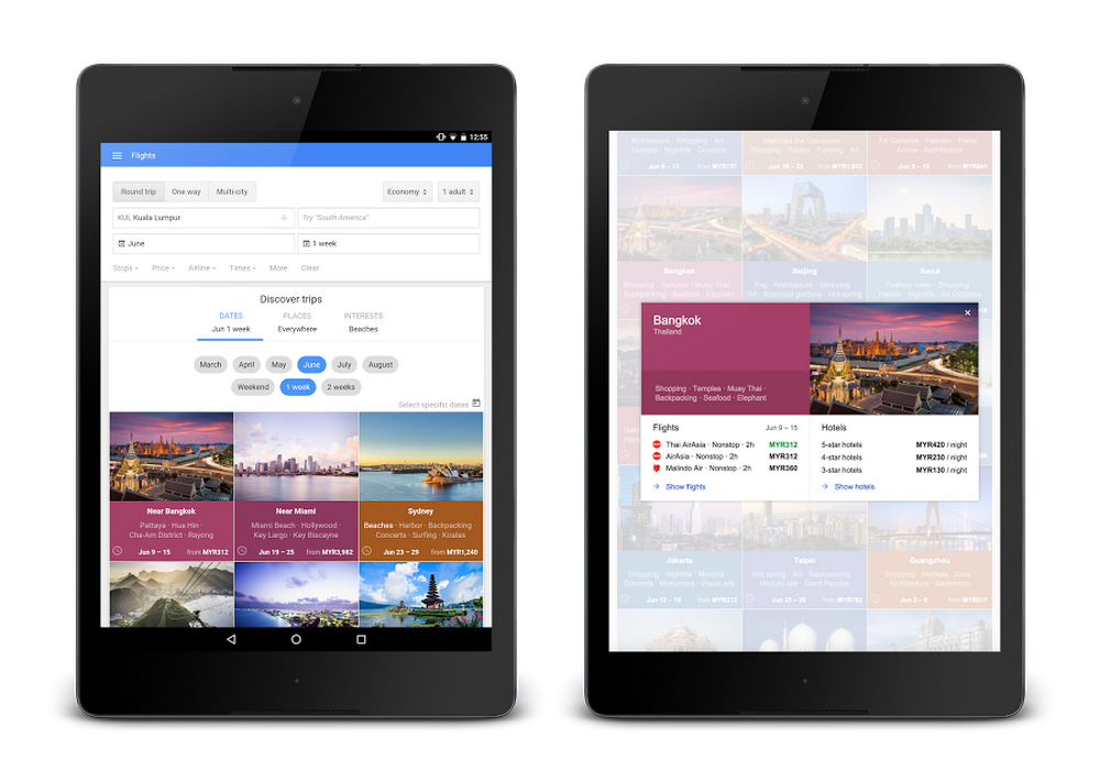 Google Flights Malaysia on Tablet