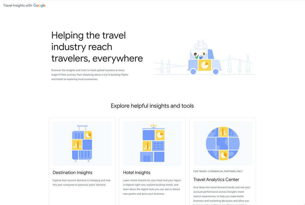 Screenshot of the Travel Insights tool landing page, showing cards for Destination Insights, Hotel Insights, and Travel Analytics Center