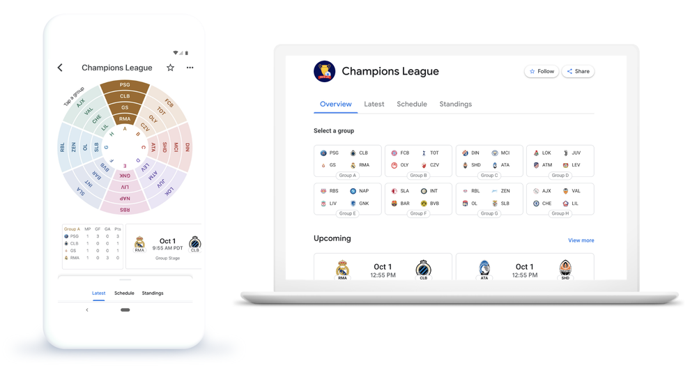 Champions League on mobile and desktop
