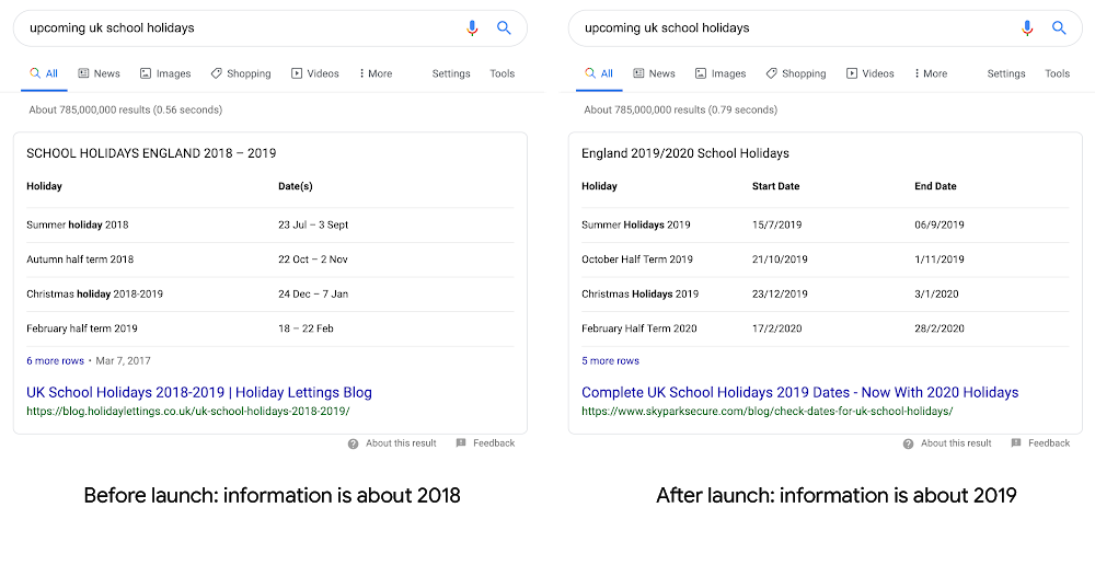 Search featured snippet highlighting information about upcoming school holidays in the UK