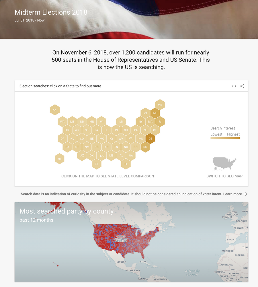 How Google Is Helping Local Journalists Report On The Midterm Elections - Google-us-election-map