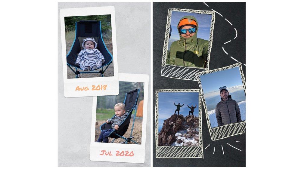 Immagine che mostra due schermate affiancate.  Uno è un collage di due foto di un bambino piccolo seduto sulla stessa sedia da campeggio a due anni di distanza.  L'altro è di foto scattate durante un'escursione.
