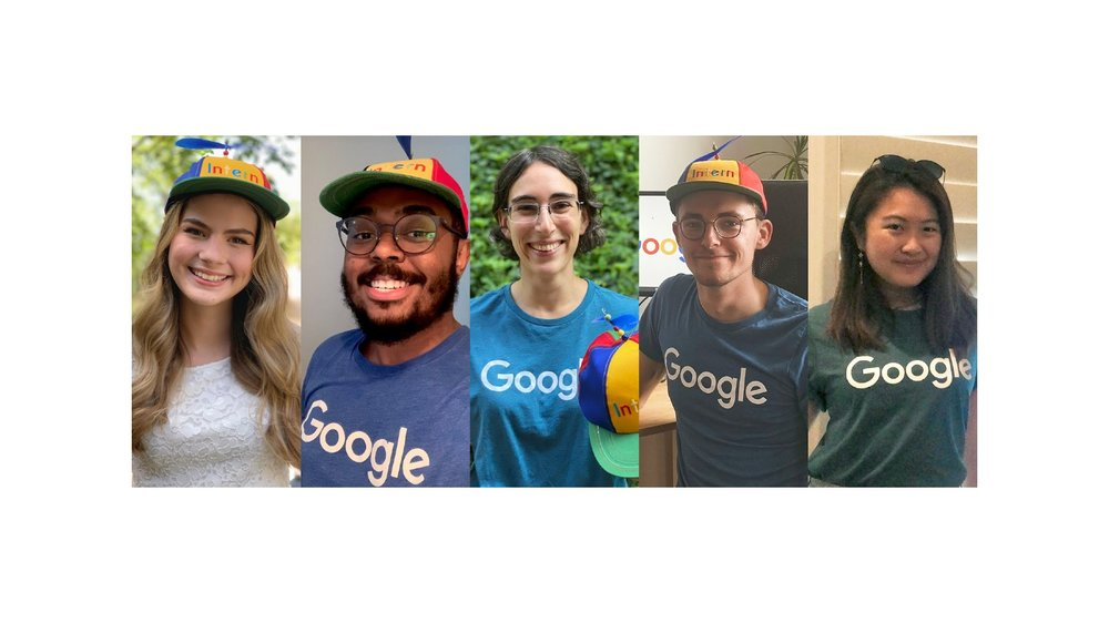 Image showing the five Google interns in a story below in separate photos all wearing Google t-shirts.