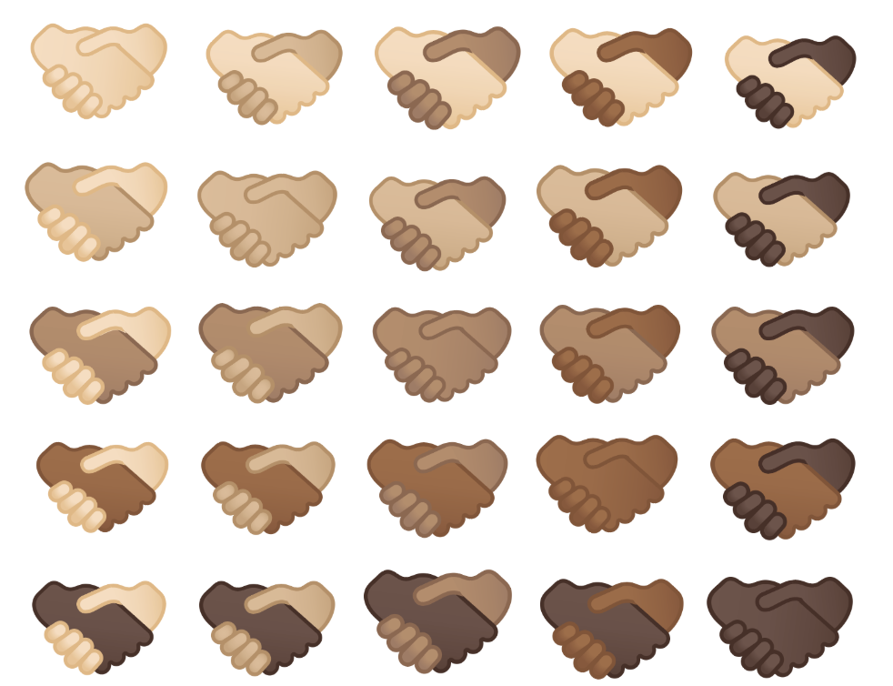 Image showing the handshake emoji in various skin tones and skin tone combinations.