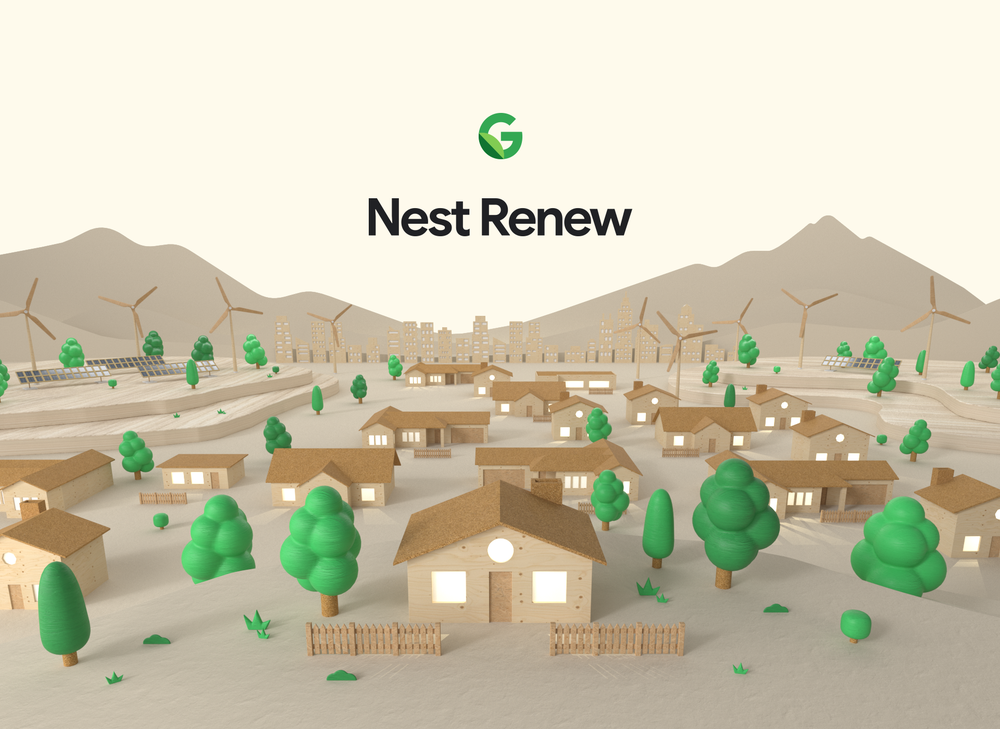 """Illustration of a neighborhood with houses and trees and mountains in the background. The words """"Nest Renew"""" are at the top of the image."""