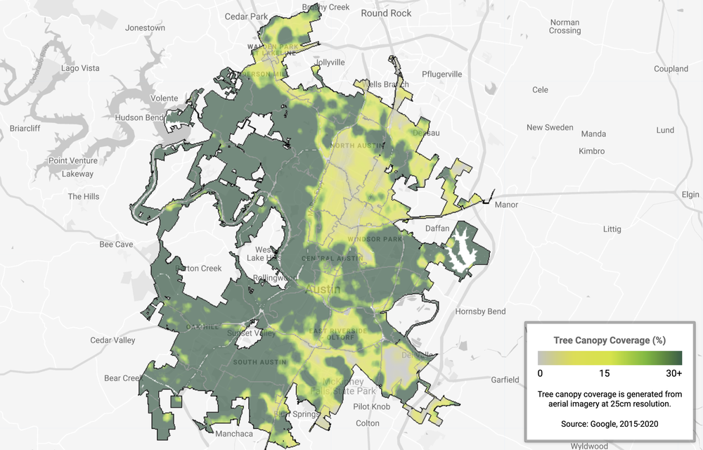 An image showing tree canopy coverage in Austin