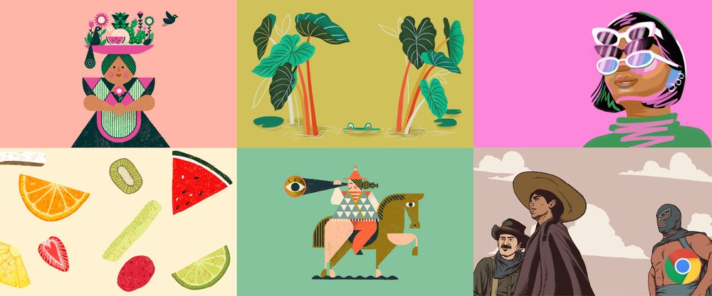 A grid layout of 6 illustrations: a person with a tray on their head; a frog submerged in the water; a person wearing 3 pairs of glasses; a cross section of a variety of fruits; a person on a horse holding a telescope; and 3 people looking in the distance