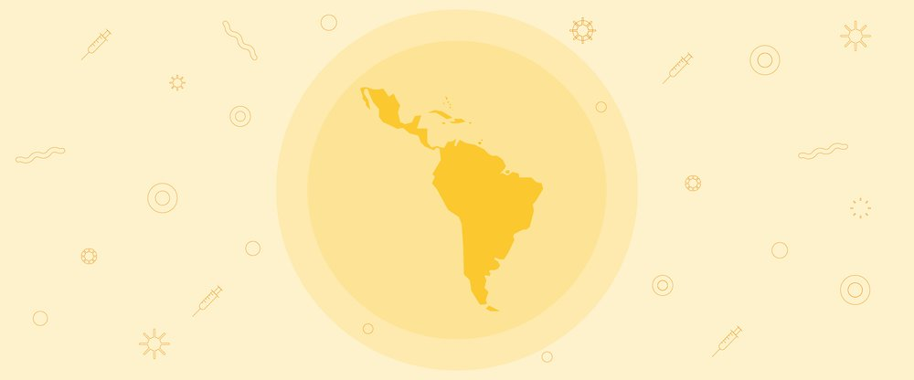 A globe showing Latin America with a yellow background showing icons indicating vaccines and COVID-19