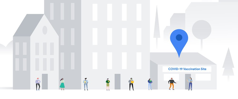 "Illustration of a grayscale streetscape with various buildings, including one with a ""Covid-19 Vaccination Site"" sign and a blue Maps pin on the roof. A clinic staffer stands at the door with a clipboard. Various people wait in a line, wearing masks."