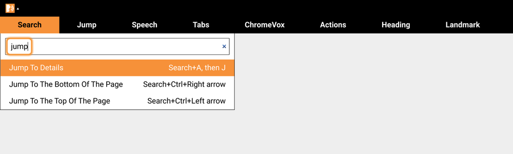 Visual shows menus that have been updated in ChromeVox with new search functionality.